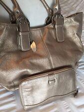 Tignanello Metallic Gold Leather Shoulder Satchel Tote Handbag Purse and Wallet