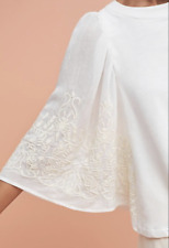 Anthropologie, Eri and Ali, Embroidered Poncho Pullover Top, White Creme, XS
