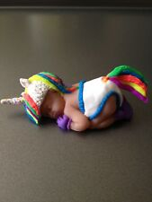 "OOAK 2.5"" Rainbow Unicorn Sleeping Polymer Clay Baby Cake Topper Figurine Gift"