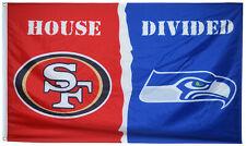 San Francisco 49ers vs Seattle Seahawks House Divided Flag Banner 3x5 US Shipper