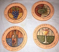 Set of 4 Round Clay Coasters w/Pictures of Wine Glass Bottle Grape Leaf Grapes