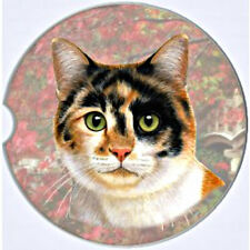 E&S Pets Absorbent Car Coaster Dog Breed Stoneware Calico Tri Color Cat Kitty