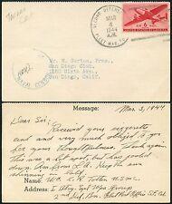 GILBERT + ELLICE Is US NAVAL CENSOR 1944 + FLEET SECOND DEFENSE on LETTERCARD