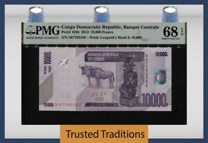 TT PK 103b 2013 CONGO DEMOCRATIC REPUBLIC 10000 FRANCS PMG 68 EPQ SUPERB GEM UNC
