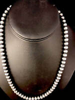 "Native American Navajo Pearls 8mm Sterling Silver Bead Necklace 16""-32"""