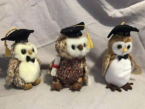 Ty beanie babies graduation lot 3 owls