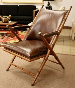 Mid Century Modern Brown Leather & Wood Safari Accent Lounge Chair 1970s