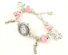 Charm Watch Bracelet Pink Cat's Eye Beads & Charms 20cm #WP05