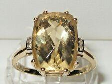Stunning Gems TV 9ct Yellow Gold Huge 14mm x 10mm Golden Beryl & Diamond Ring.