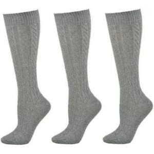 Sierra Socks Women's Socks For Mom, Cable Knitt 3 Pair Pack Cotton Knee Hi Socks