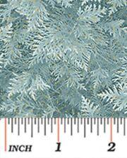 CHICKADEES & BERRIES BLUE FIR PINE BOUGHS CHRISTMAS FABRIC METALLIC