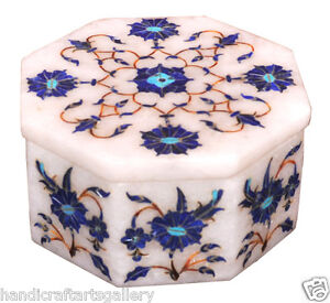 """3""""x3""""x2"""" White Marble Jewelry Boxes Lapis Inlay Marquetry Mosaic Decor Art H2265"""