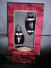 HAND DECORATED GLASS FOOTBALL CHRISTMAS ORNAMENTS NEW in Box Set of 2 MIB GIFT