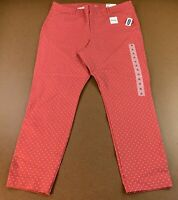 Old Navy Womens Size 16 High-Waisted Pixie Ankle Pants Pink/Red Dotted NWT