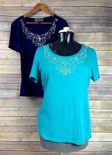Lot 2 Karen Scott Womens L Navy Blue Turquoise Studded Silver Neck Shirts Tops