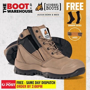 Mongrel 461060 Work Boots Steel Toe Safety STONE Zip SCUFF CAP! AU  STOCK !