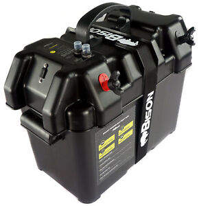 ELECTRIC OUTBOARD  BATTERY BOX CARRIER WITH USB CHARGER, BREAKER & 12V SOCKET