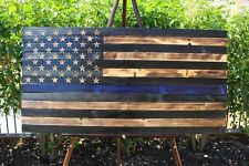 Rustic Wood American Flag Thin Blue Line Medium House Hold Decor Reclaimed