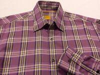 Robert Talbott Mens Medium Long Sleeve Button-Front Multicolor Plaid Check Shirt