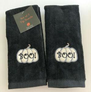 Halloween Boo Fingertip Towels Pumpkin Embroidered Black Set of 2 Guest Applique