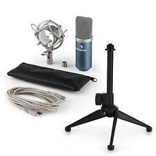 auna USB Kondensator Studio Mikrofon Set Spinne Tischstativ Tasche blau