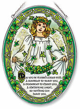 Irish Angel Sun Catcher AMIA Hand Painted Large Oval Clovers May You Be Blessed