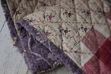 Antique French printed cotton 18th century + 1820 purple quilted textile