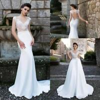 Sheath Applique Lace mermaid Wedding Dresses detachable Satin Train Bridal Gown