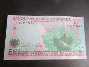 RWANDA 1998 ISSUE, 500 FRANCS DATED 01.12.98, P26b, MOUNTAIN GORILLAS - UNC