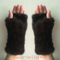 Women's Real Genuine Mink Fur Fingerless Knitted Winter Elastic Gloves Mittens