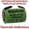 Batteria ricaricabile NiMh 4/5 SC 1,2V 2000mAh subC lamelle terminali a saldare