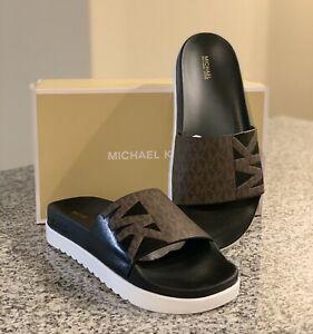 Michael Kors Trixie Signature Logo Slide Sandals, Brown/Black, US 11