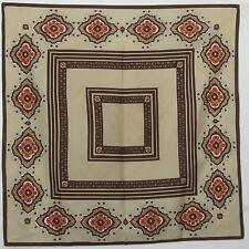 """TERRIART Brown, Khaki, Orange Box Stripes, Medallions 26"""" Square Scarf-Vintage"""