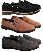 Womens Slip On Casual Loafers Studded Flat Ballerina Ladies Pumps Shoes Size 3-8