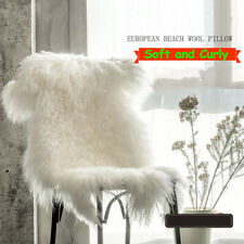 Real Tibetan Fur Throw Mongolian Lambskin Sheepskin Hide Bed Blanket Rug Ivory