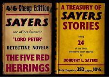 2 Dorothy Sayers books - British Editions - 5 Red Herrings & 24 Short Storys wDj