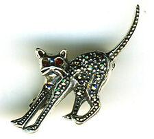 925 Sterling Silber Granat & Märkasit kleine Stretching weiße Katze Brosche/Pin