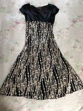 Beautiful FENN WRIGHT MANSON Pure Silk A-line Spotty Dress-sz 8 Black/ Gold