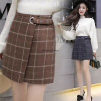 Korean Chic Women High Waist A Line Checks Plain Flare Skater Short Pencil Skirt