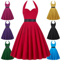 Rock N Roll Retro 50s 60s Housewife Swing Pinup Cocktail Party Halter Nice Dress
