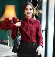 Womens Long Sleeves Formal Tops High Neck Shirt Stand Collar Falbala Blouse Tops