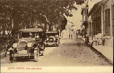 Auto Automobil Car ~1920 Santa Marta Una Calle Tipica Espana Spain Tarjeta P.