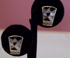 Bagley and Hotchkiss 18k/sterling  mother of pearl onyx cz earrings