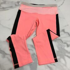 Lululemon Size 4 Women's Pink/Black Cropped Leggings USED CONDITION