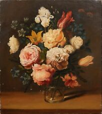 More details for 19th century dutch old master style still life of flowers tulips roses antique