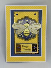 Handmade greeting card Happy Thoughts Queen Bee Very Nice Yellow Blue  3D