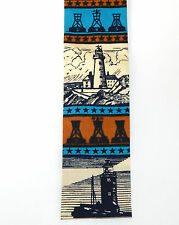 Vintage Nautical Rooster Square Tip Lighthouse New England Sea Cotton Neck Tie