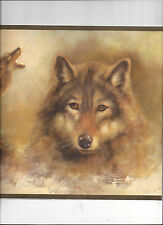 WALLPAPER BORDER WOLVES WOLF NATURE WILD ANIMAL HUNTING WILDERNESS GREEN TRIM
