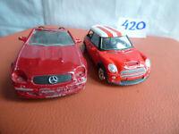 Maisto Mercedes SLK 1:35 & New Mini Cooper S Red Diecast Car Toy Bundle Job lot