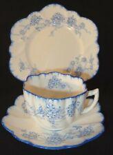 Antique A B Jones Grafton China Art Nouveau Blue Floral Wavy Edge Trio c1910 VGC